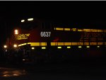 Zoom in shot of BNSF 6637 as she Blows her Nathan/Air Chimes K5HL Train Horn constantly as she rolls westbound through the street crossings that run east/west in West Colton. (I recorded her Air Horn while taking her Photo :)))). )